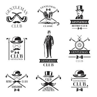 Clube de cavalheiros. conjunto de emblemas. ilustração da coleção do emblema e etiqueta do cavalheiro