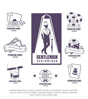 Clube de cavalheiros, ilustração, conjunto de logotipos de pôquer, emblema do jogo, ícone do charuto, batatas fritas no fundo branco.