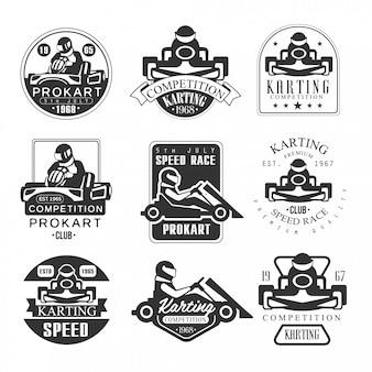 Clube de competição procart de qualidade premium conjunto de emblemas preto e branco com silhuetas de corrida de corrida de carro de kart