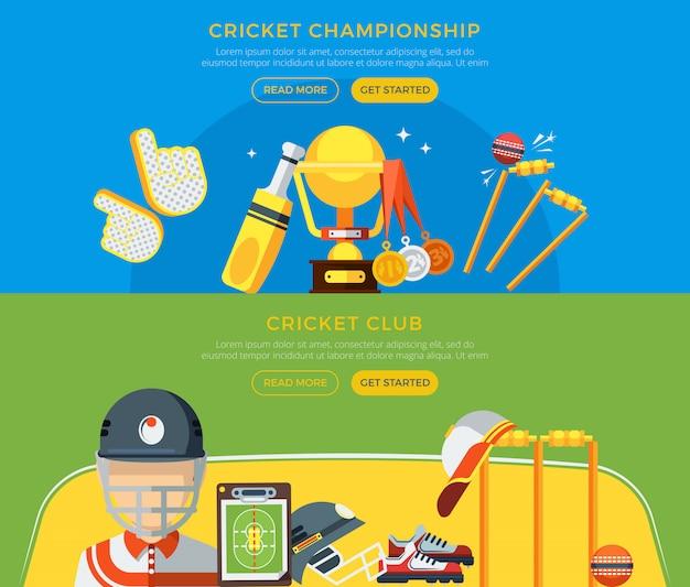 Clube de críquete e banners de campeonato