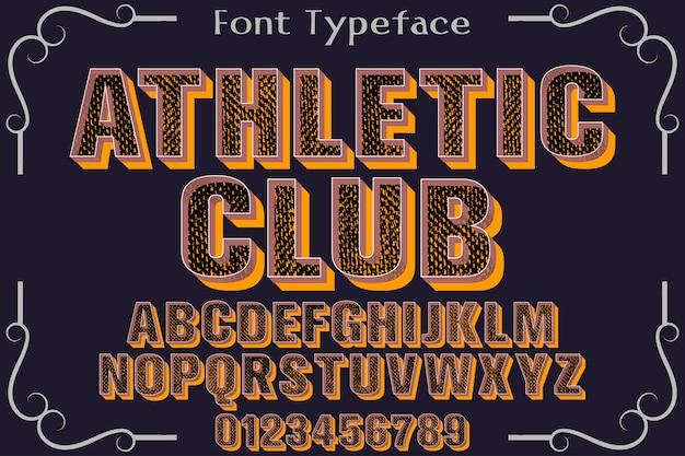 Clube de design retrô alfabeto tipo typeface