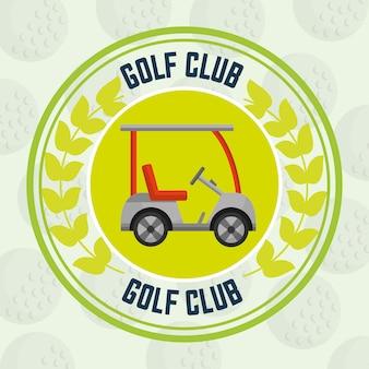 Clube de golfe carro transporte bolas fundo emblema