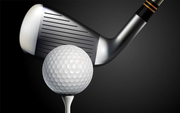 Clube de golfe e bola ilustração vetorial realista