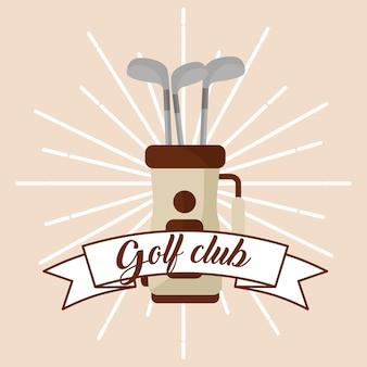 Clube de golfe no cartão de faixa de saco