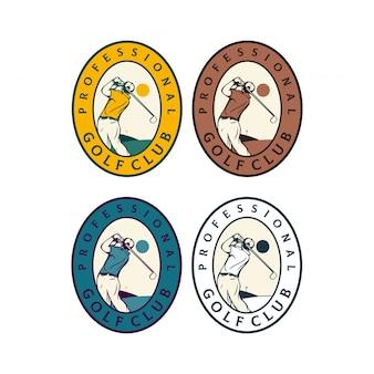 Clube de golfe profissional distintivo logotipo design homem ilustração retrô vintage