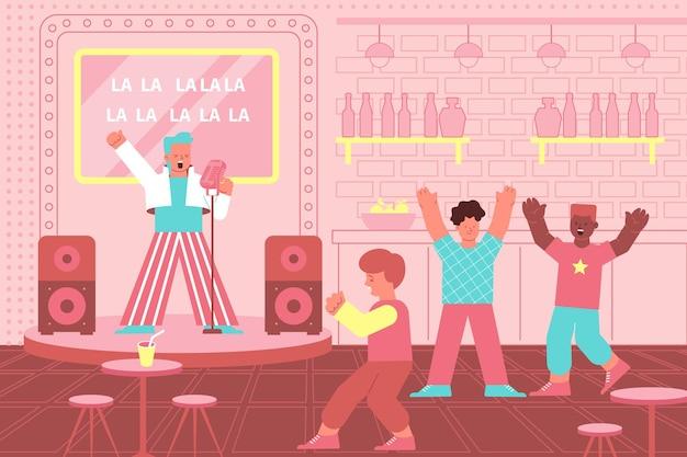 Clube de karaokê com gente comemorando