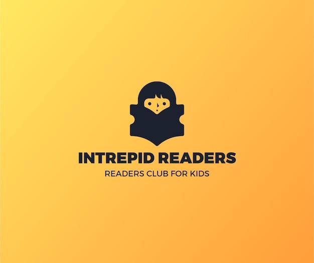 Clube de leitores de logotipo de livro gradiente para crianças