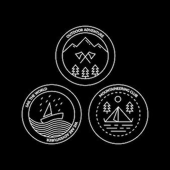 Clube de montanhismo e emblema de monolina monocromática ao ar livre conjunto