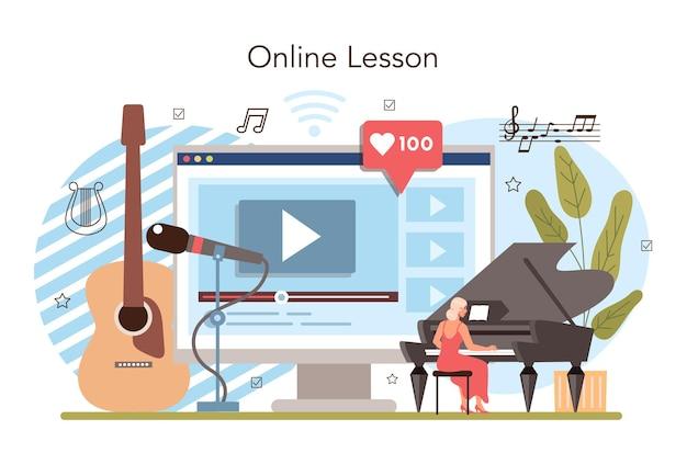 Clube de música ou serviço on-line de aula ou plataforma que os alunos aprendem
