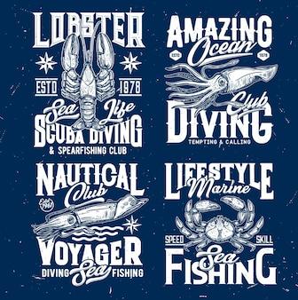 Clube de pesca marinha. gravura de lagosta, lula ou choco e caranguejo.