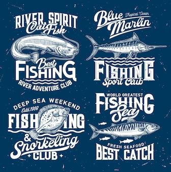 Clube de pesca, modelos de esporte, peixes e ondas de água do mar, azuis.
