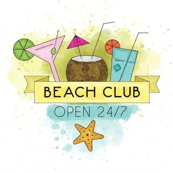 Clube de praia. cartaz de verão aquarela
