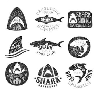 Clube de surf de tubarão perigoso conjunto de impressões em preto e branco