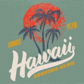 Clube de surfe do havaí. modelo de cartaz com letras e palmas das mãos. imagem