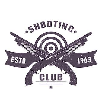 Clube de tiro com duas espingardas cruzadas em branco, ilustração