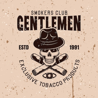 Clube dos senhores fumantes vector emblema vintage com caveira no chapéu e dois charutos cruzados