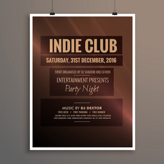 Clube indie party dj modelo noite panfleto bandeira