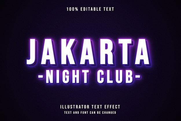 Clube noturno de jacarta, efeito de texto editável em 3d gradação rosa estilo de texto neon roxo