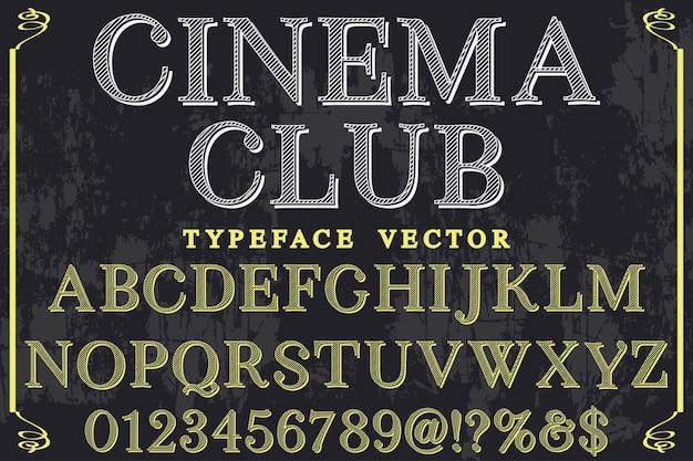 Clube retro do cinema do projeto da etiqueta da fonte