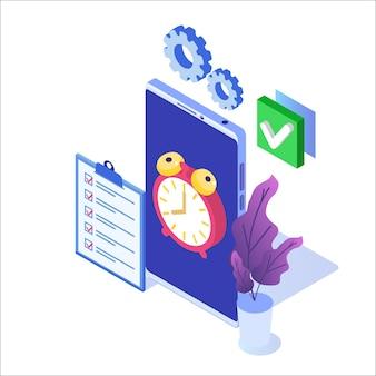 Cncept de gerenciamento de tempo, aplicativo de agendamento de negócios.