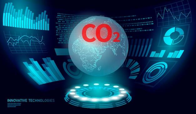 Co poluição do ar planeta terra, gráfico de crescimento de danos climáticos
