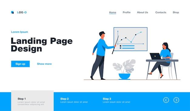 Coach de negócios, mostrando o gráfico de crescimento para a mulher de negócios. laptop, treinamento, ilustração plana de estatísticas. análise e conceito de gerenciamento de design de site ou página da web de destino
