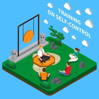 Coaching de negócios com foco na composição isométrica de autocontrole com treinamento de meditação em posição de lótus de ioga