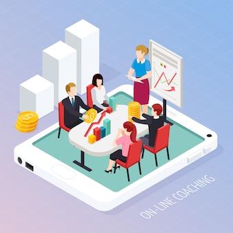 Coaching de negócios on-line composição isométrica