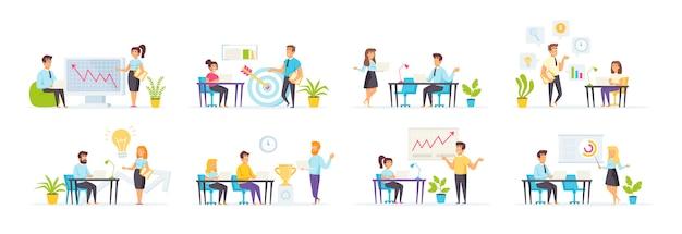 Coaching e mentoring são apresentados com personagens de pessoas em várias cenas e situações.