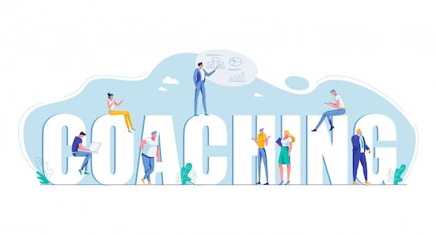 Coaching letras maiúsculas motivação plana bandeira