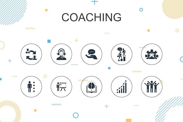 Coaching modelo moderno de infográfico. design de linha fina com suporte, mentor, habilidades, ícones de treinamento