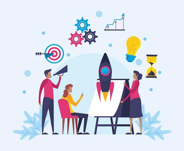 Coaching para trabalho em equipe de negócios