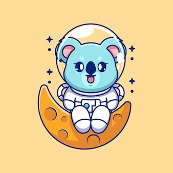 Coala astronauta fofo sentado na lua