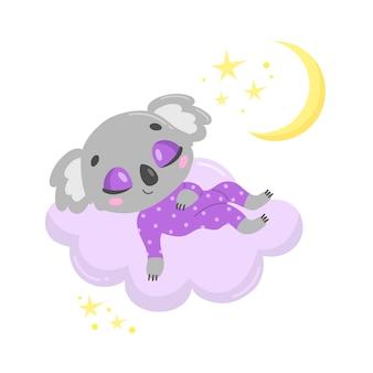Coala bonito dos desenhos animados dormindo numa nuvem.