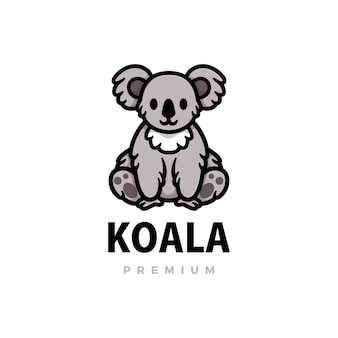 Coala bonito dos desenhos animados logotipo icon ilustração
