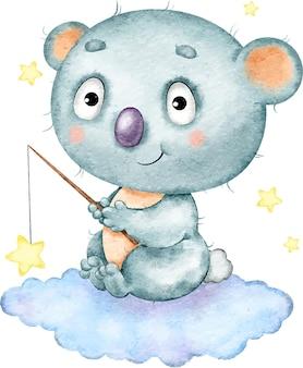 Coala bonito e engraçado com textura azul sentado em uma nuvem e pegando estrelas pintadas em aquarela
