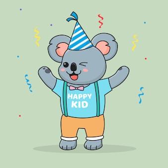 Coala bonito feliz aniversário, usando um chapéu