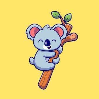 Coala bonito pendurado na árvore dos desenhos animados. conceito de ícone de natureza animal isolado. estilo flat cartoon