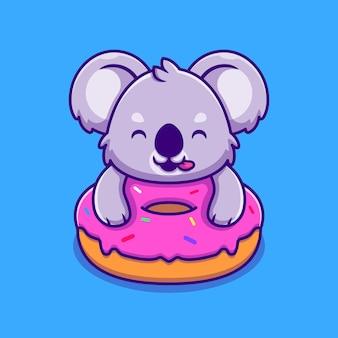 Coala bonito segurando o personagem de desenho animado donut. alimento animal isolado.