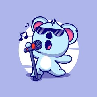 Coala cantando ilustração em vetor ícone bonito dos desenhos animados