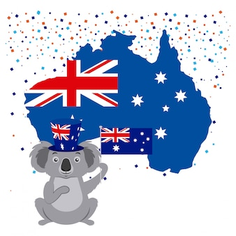 Coala com bandeira australiana e confetes