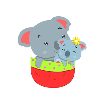 Coala com seu bebê saindo do bolso vermelho