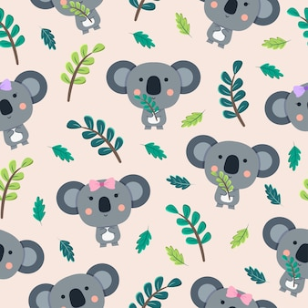 Coala cute cartoon seamless pattern com folhas