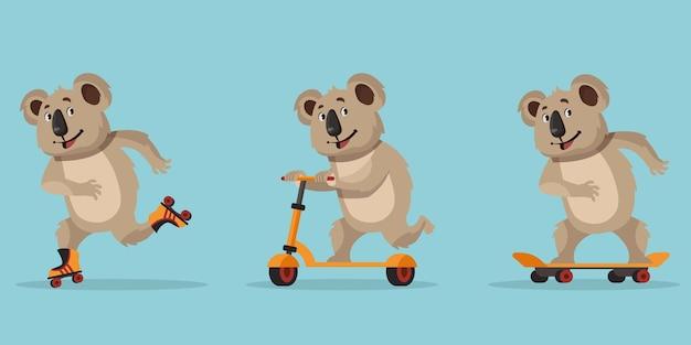 Coala de desenho animado. animal andando de skate, patins e scooter.