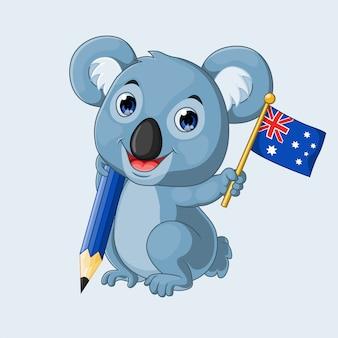 Coala de desenho animado, segurando um lápis e bandeira