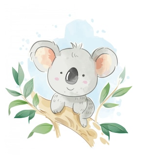 Coala de desenhos animados, sentado na ilustração do galho de árvore