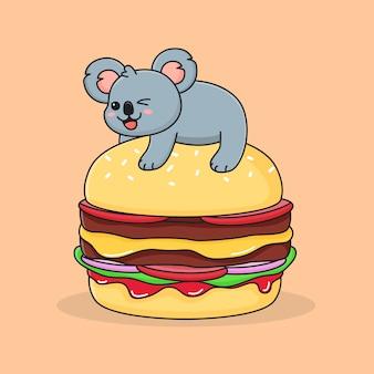 Coala de hambúrguer engraçado