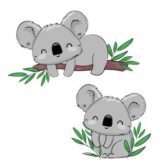 Coala de mão desenhada no galho de árvore. mão desenhada bonita ilustração infantil. design de impressão. ilustração.
