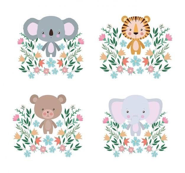 Coala de tigre fofo e elefante conjunto de desenhos animados