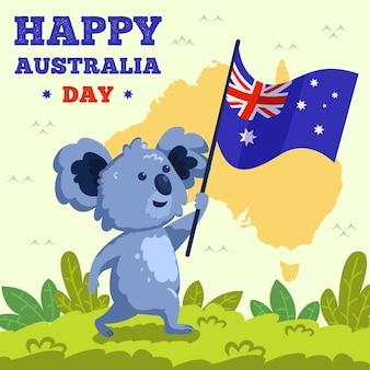 Coala desenhada de mão segurando uma bandeira australiana